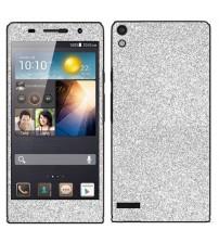 Skin fashion GLITTER pentru Huawei Ascend  P6 - Silver