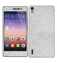 Skin fashion GLITTER pentru Huawei Ascend  P7 - Silver