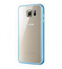 Bumper metalic pentru Samsung Galaxy S6 Albastru, spate transparent