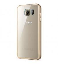 Bumper metalic pentru Samsung Galaxy S6 Auriu, spate transparent
