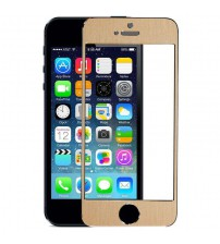 Folie sticla securizata tempered glass iPhone 5 / 5S / 5C - Gold aluminium