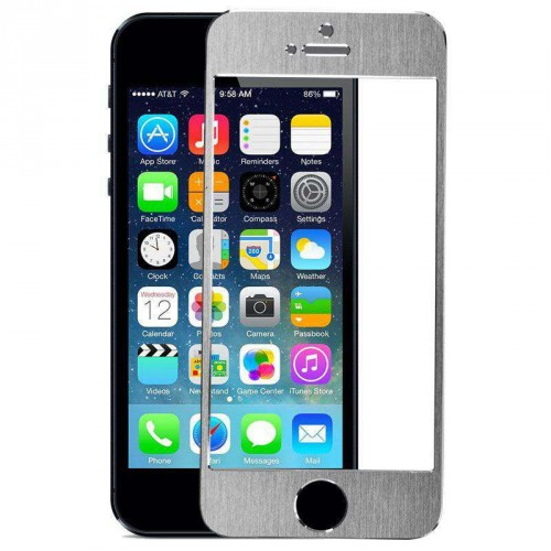 Folie sticla iPhone 5 silver aluminium, Folii iPhone - TemperedGlass.ro