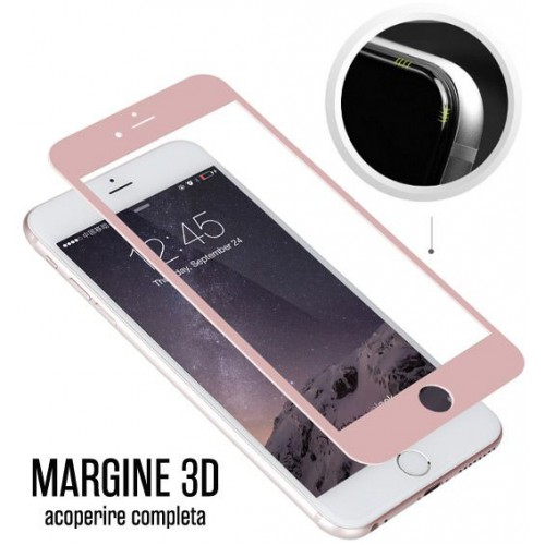 Folie sticla iPhone 6 3D Rose Gold, Folii iPhone - TemperedGlass.ro