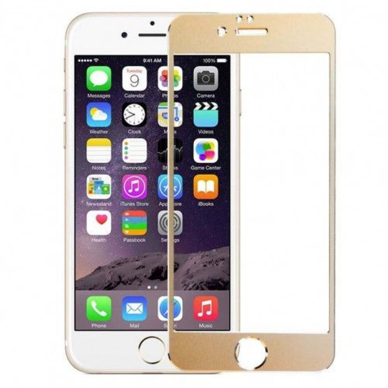 Folie sticla iPhone 6 Plus Gold aluminium, Folii iPhone - TemperedGlass.ro