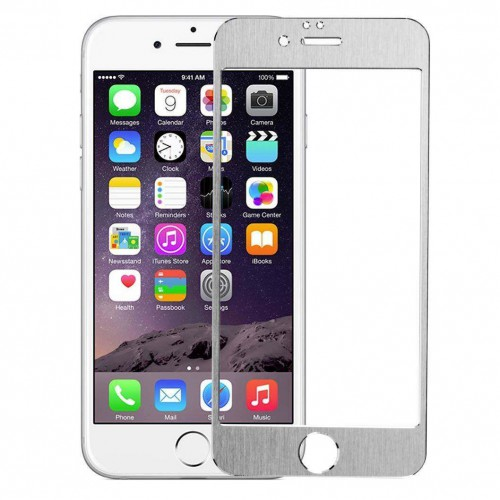 Folie sticla iPhone 6 Silver aluminium, Folii iPhone - TemperedGlass.ro