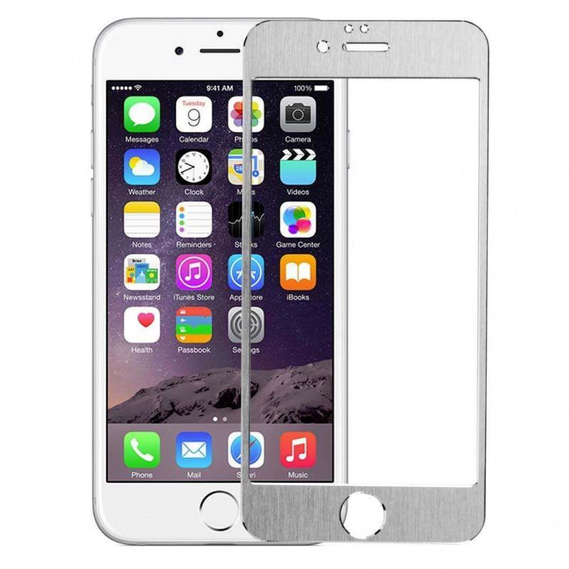 Folie sticla iPhone 6 Silver aluminium, Folii iPhone - TemperedGlass.ro