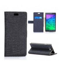 Husa de protectie tip carte pentru Samsung Galaxy Alpha,  Black