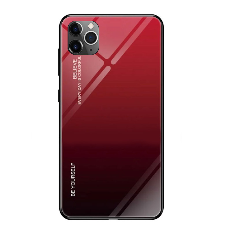 Husa iPhone 11 Pro Max Gradient Glass, Red+Black - TemperedGlass.ro