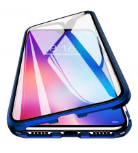 Husa iPhone 12 / 12 Pro Magnetic 360 (fata+spate sticla), Dark Blue