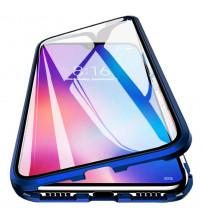 Husa iPhone 12 mini Magnetic 360 (fata+spate sticla), Dark Blue