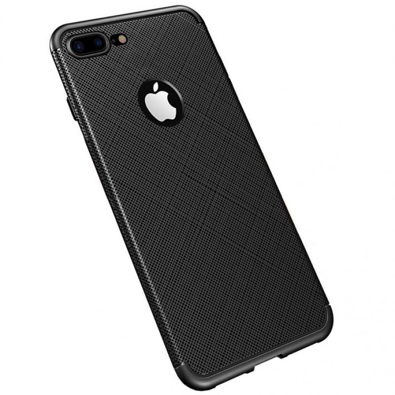 Husa iPhone 8 Gel TPU Fiber, Black - TemperedGlass.ro