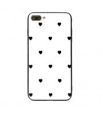 Husa iPhone 7 Glass Back, Black Hearts