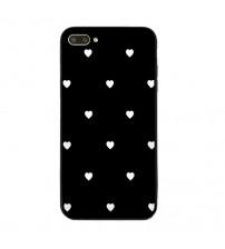 Husa iPhone 7 Glass Back, White Hearts