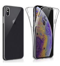 Husa iPhone X TPU Full Cover 360 (fata+spate), Transparenta