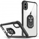 Husa iPhone X Transparent Silver Ring, Black