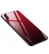 Husa iPhone X Gradient Glass, Red-Black