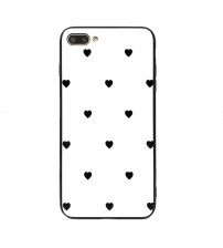 Husa iPhone XS Max Glass Back, Black Hearts