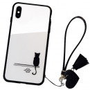 Husa iPhone X Glass Back, Cat