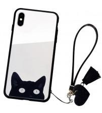 Husa iPhone X Glass Back, Cat Eyes