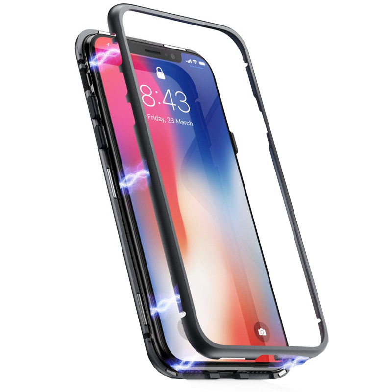 Husa iPhone XS 360 Magnetic, Clear-Black- TemperedGlass.ro