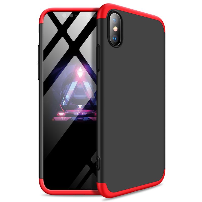 Husa iPhone XS Max GKK Full Cover 360, Black-Red - TemperedGlass.ro