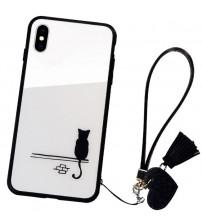 Husa iPhone X Glass Back, Cat