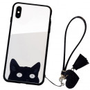 Husa iPhone X Glass Back, Cat Eyes