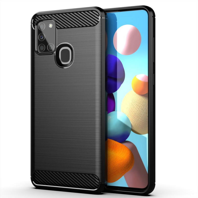 Husa Samsung Galaxy A21S Carbon TPU, Black - TemperedGlass.ro