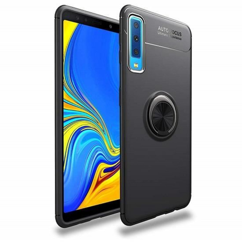 Husa Samsung Galaxy A7 2018 Magnet Round Ring, Black - TemperedGlass.ro