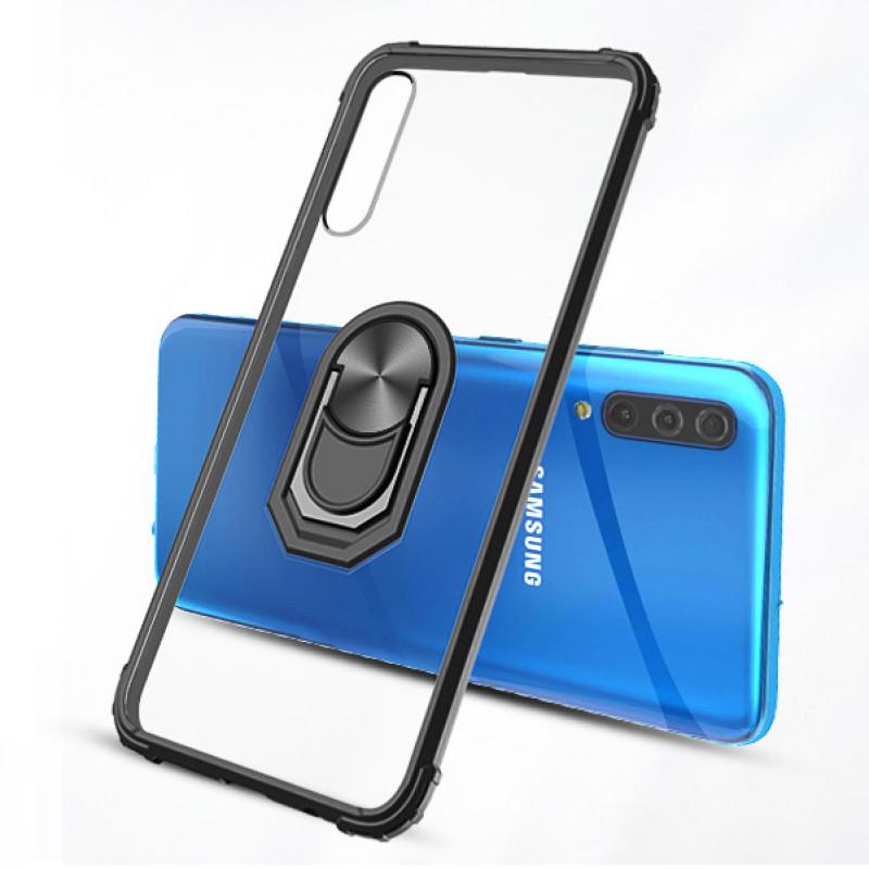 Husa Samsung Galaxy A7 2018 Transparent Silver Ring, Black