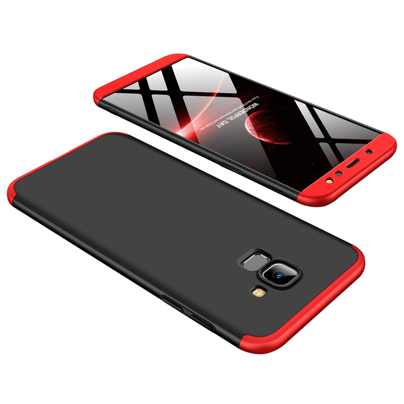 Husa Samsung J4 Plus GKK Full Cover 360, Black-Red - TemperedGlass.ro