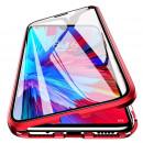 Husa Samsung Galaxy S21 Ultra Magnetic 360 (fata+spate sticla), Red
