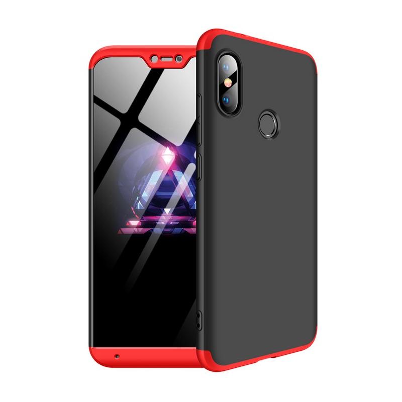 Husa Xiaomi Mi A2 Lite GKK Full Cover 360, Black-Red- TemperedGlass.ro
