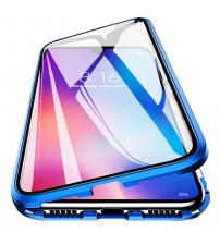 Husa Xiaomi Redmi Note 9 Magnetic 360 (fata+spate sticla), Blue