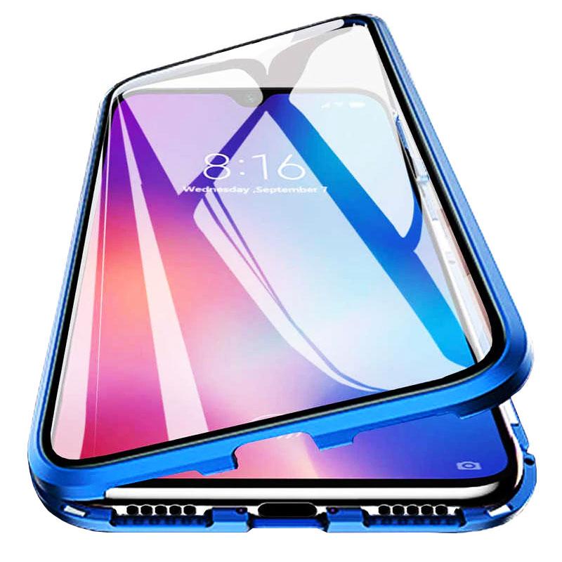 Husa Xiaomi Redmi Note 9, Magnetic 360 (fata+spate sticla), Blue