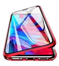 Husa Xiaomi Redmi Note 9T Magnetic 360 (fata+spate sticla), Red