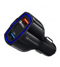 Incarcator auto Wozinsky, Quick Charge QC3.0, 2 X USB,  1 x Type-C, Black