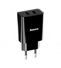 Incarcator Baseus Speed Mini Dual, 2 x USB 2.1A, 10.5W, Negru