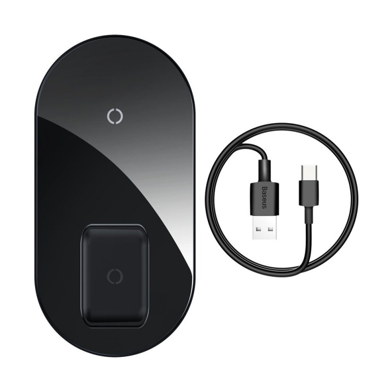 Incarcator wireless Qi 15W Baseus Simple Pro 2 in 1, Black