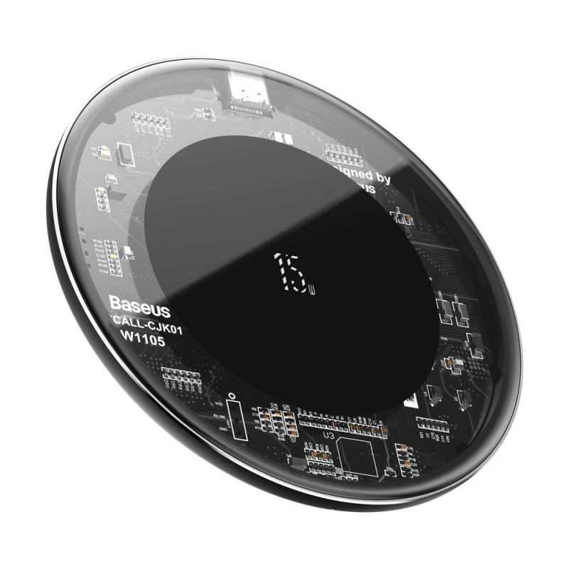 Incarcator wireless Qi 15W Baseus Simple Transparent, Black