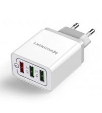 Incarcator Wozinsky, Quick Charge QC3.0, 3 X USB, 30W, White