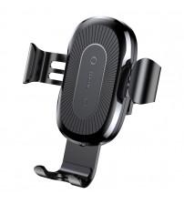 Suport auto cu incarcator wireless Baseus Gravity Air Vent, Black